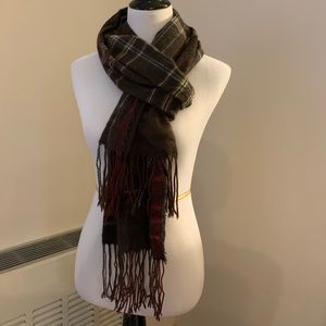 Inhabit Oversized Taupe Cashmere Plaid Scarf